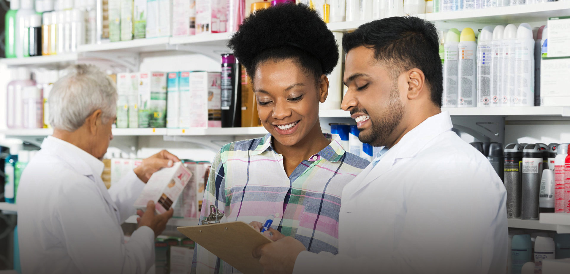 pharmacist talking to his client